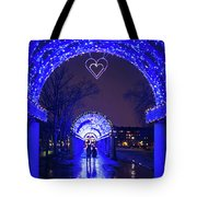 Boston Ma Christopher Columbus Park Trellis Lit Up For Valentine's Day Rainy Night Tote Bag