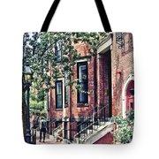 Boston Ma - Walking The Dog On Mount Vernon Street Tote Bag