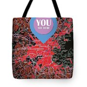 Boston Massachusetts 1948 Red Old Map You Are Here Tote Bag