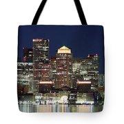 Boston Night Skyline Panorama Tote Bag