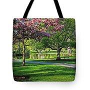 Boston Public Garden Pond Through The Cherry Blossom Spring Day Tote Bag
