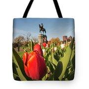 Boston Public Garden Tulips And George Washington Statue 2 Tote Bag