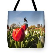 Boston Public Garden Tulips And George Washington Statue Tote Bag