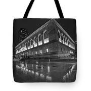 Boston Public Library Rainy Night Boston Ma Black And White Tote Bag