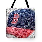 Boston Red Sox Cap Mosaic Tote Bag by Paul Van Scott