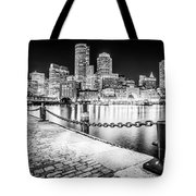 Boston Skyline At Night Black And White Picture Tote Bag