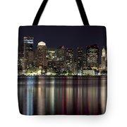 Boston Skyline At Night Tote Bag