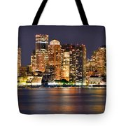 Boston Skyline At Night Panorama Tote Bag