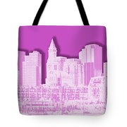 Boston Skyline - Graphic Art - Pink Tote Bag