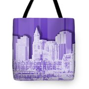 Boston Skyline - Graphic Art - Purple Tote Bag