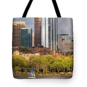 Boston Skyline Skyscraper Boston Ma Charles River Tote Bag