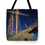 Boston Tall Ship Flags Boston Ma Sailors Blue Sky Tote Bag