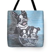 Boston Terrier Mom And Pups Tote Bag
