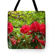 Botanical Garden Art Prints Red Rhodies Trees Baslee Troutman Tote Bag