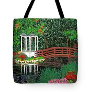 Botanical Garden Park Walk Pink Azaleas Bridge Gazebo Flowering Trees Pond Tote Bag