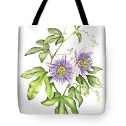 Botanical Illustration Passion Flower Tote Bag