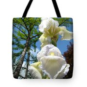Botanical Landscape Trees Blue Sky White Irises Iris Flowers Tote Bag