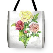 Botanical Vintage Style Watercolor Floral 3 - Peony Tulip And Rose With Butterfly Tote Bag