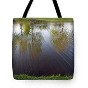 Grass On Both Sides With Water Between Tote Bag