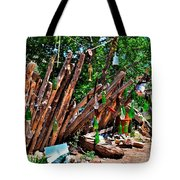 Bottle Fence In Golden New Mexico Tote Bag