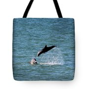 Bottlenose Dolphins In The Ocean Tote Bag