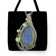 Botyroidal Blue Chalcedony Druzy Pendant Wire-wrapped In Sterling Silver With Ethiopian Welo Opals Tote Bag