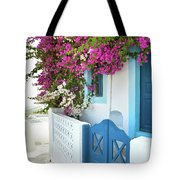 Bougainvillea In Santorini Island Tote Bag