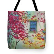 Bouganvilla And Blue Shutter Tote Bag