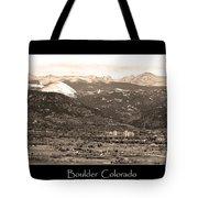 Boulder Colorado Sepia Panorama Poster Print Tote Bag