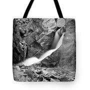 Boulder Falls Black And White   Tote Bag