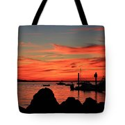Rock Sunset Silhouette Tote Bag