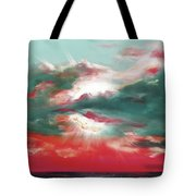Bound Of Glory 2 - Square Sunset Painting Tote Bag by Gina De Gorna