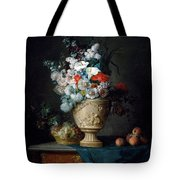 Bouquet Of Flowers In A Terracotta Vase With Peaches And Grapes Tote Bag