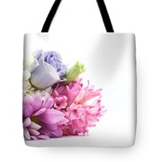 Bouquet Of Fresh Flowers Isolated On White Tote Bag