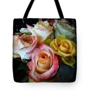Bouquet Of Mature Roses At The Counter Tote Bag