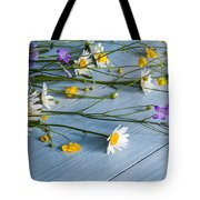 Bouquet Of Wild Flowers On A Wooden Tote Bag