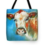 Bovine On Blue  Tote Bag