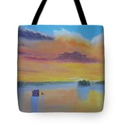 Bow Lake Ice Fishing Tote Bag