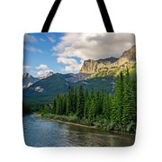 Bow River And Three Sisters Canmore Tote Bag
