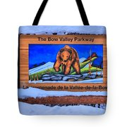 Bow Valley Parkway Snowy Entrance Tote Bag