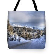Bow Valley Parkway Winter Conditions Tote Bag