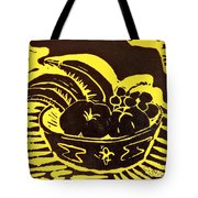 Bowl Of Fruit Black On Yellow Tote Bag