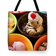 Bowls Of Different Flavor Ice Creams Tote Bag by Garry Gay