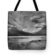 Bowman Lake Black And White Panoramic Tote Bag