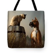 Boxer And Siamese Tote Bag by Daniel Eskridge