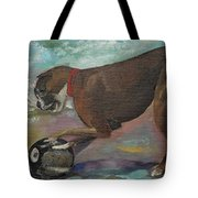 Boxer On Beach Tote Bag