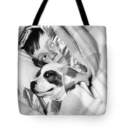 Boy And Dog Hiding Under Blanket Tote Bag