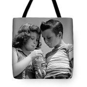 Boy And Girl Sharing A Soda, C.1950s Tote Bag
