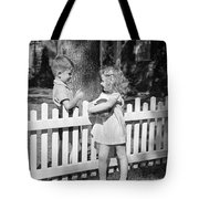 Boy And Girl Talking Over Fence, C.1940s Tote Bag