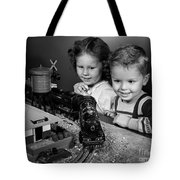 Boy And Girl With Train Set, C.1950s Tote Bag